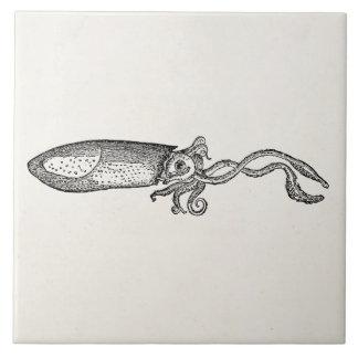 Plantilla en blanco personalizada calamar acuático azulejo cuadrado grande