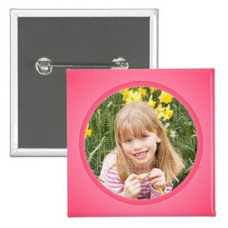 Plantilla en colores pastel rosada del marco pin cuadrado