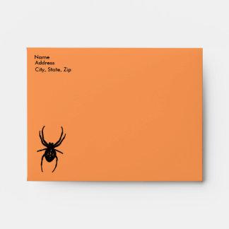 Plantilla espeluznante del sobre de la araña y del