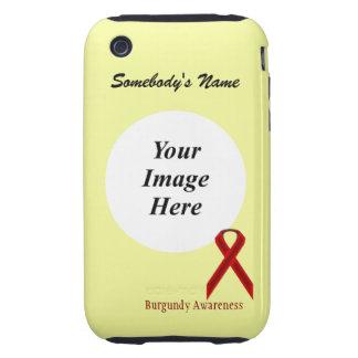 Plantilla estándar de la cinta de Borgoña Tough iPhone 3 Carcasa