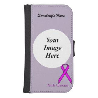 Plantilla estándar púrpura de la cinta fundas cartera de galaxy s4