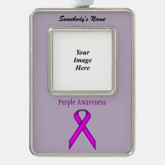 Plantilla estándar púrpura de la cinta (Vo) Adornos Navideños