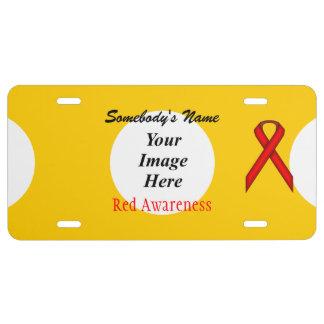 Plantilla estándar roja de la cinta placa de matrícula