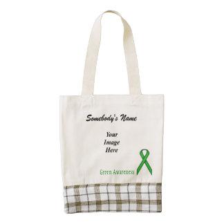 Plantilla estándar verde de la cinta bolsa tote zazzle HEART