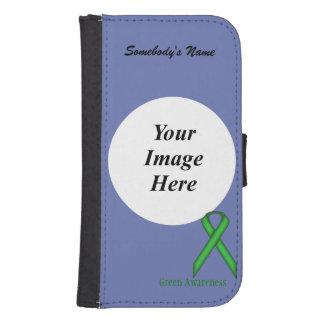 Plantilla estándar verde de la cinta fundas cartera de galaxy s4