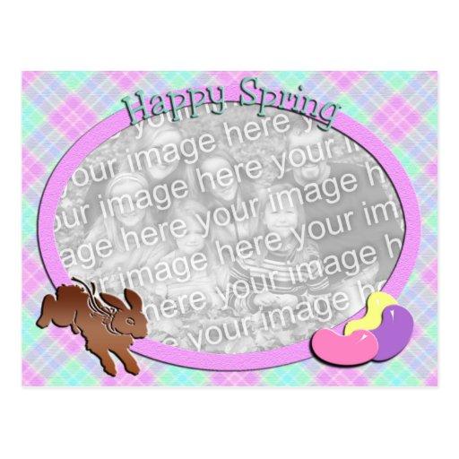 Plantilla feliz de la foto de la primavera tarjetas postales