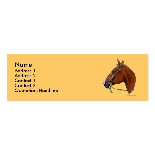 Plantilla flaca de la tarjeta del perfil - caballo tarjetas de visita