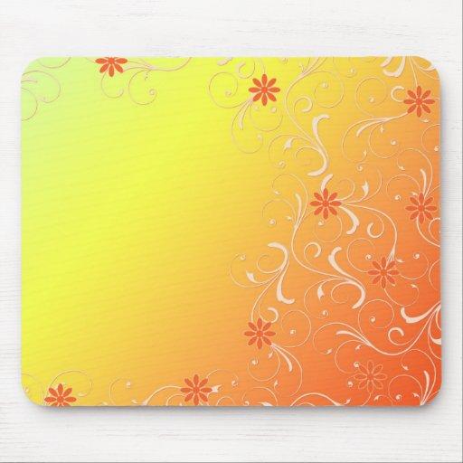 Plantilla floral anaranjada abstracta Mousepad