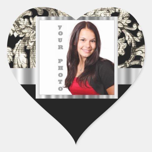 plantilla floral blanco y negro de la foto pegatina de corazón