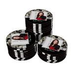 Plantilla floral blanco y negro del damasco juego de fichas de póquer
