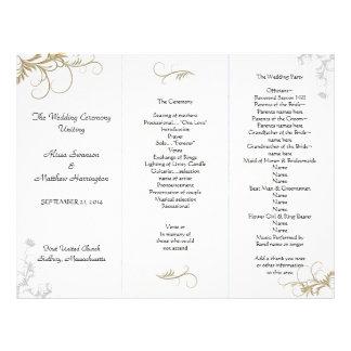 Plantilla floral del programa del boda de plantillas de membrete