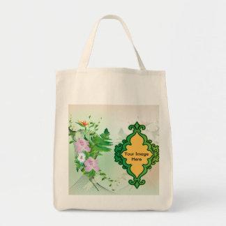 Plantilla floral hermosa de la foto bolsas lienzo