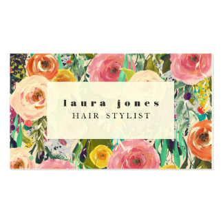 Plantilla floral moderna del estilista de la tarjetas de visita