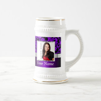 Plantilla floral negra y púrpura del damasco tazas