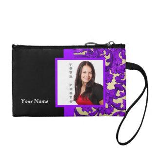 Plantilla floral púrpura de la foto del damasco
