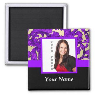 Plantilla floral púrpura de la foto del damasco imanes de nevera