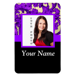 Plantilla floral púrpura de la foto del damasco imán