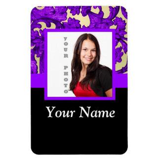 Plantilla floral púrpura de la foto del damasco imán foto rectangular