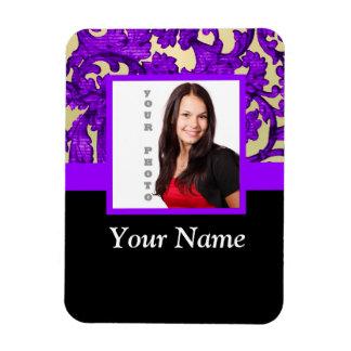 Plantilla floral púrpura de la foto del damasco imanes de vinilo