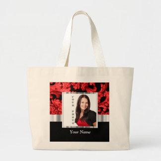 Plantilla floral roja y negra del damasco bolsa tela grande