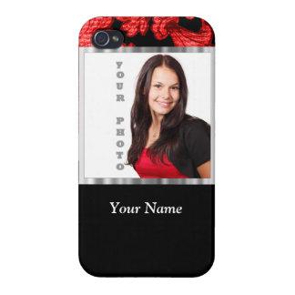 Plantilla floral roja y negra del damasco iPhone 4 protector