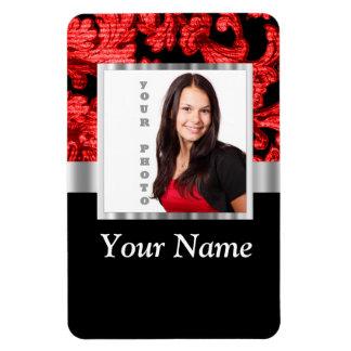 Plantilla floral roja y negra del damasco rectangle magnet