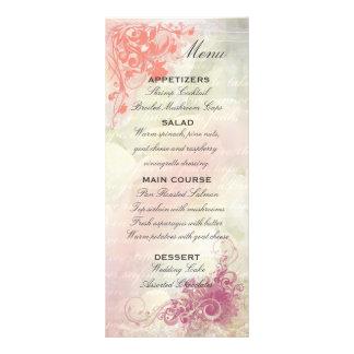 Plantilla floral romántica del menú del boda lona