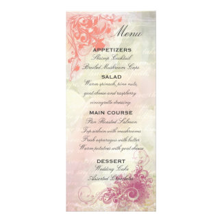 Plantilla floral romántica del menú del boda tarjetas publicitarias