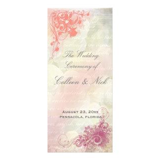 Plantilla floral romántica del programa del boda lonas personalizadas