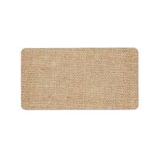 Plantilla - fondo de la arpillera etiquetas de dirección