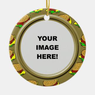 Plantilla, frontera de la hamburguesa adorno de reyes