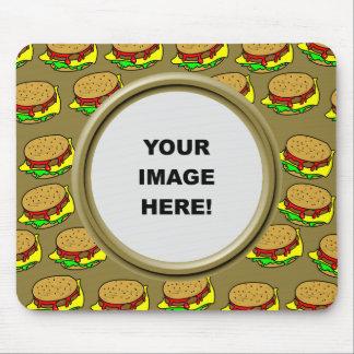 Plantilla, frontera de la hamburguesa tapete de raton