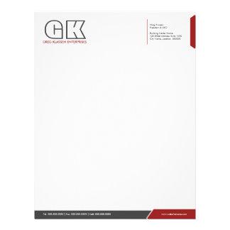 Plantilla gris oscuro y roja profesional del papel membretes personalizados