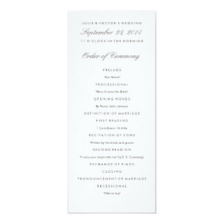 Plantilla gris y blanca del programa del boda invitación 10,1 x 23,5 cm