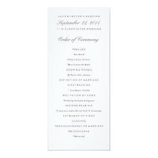 """Plantilla gris y blanca del programa del boda invitación 4"""" x 9.25"""""""