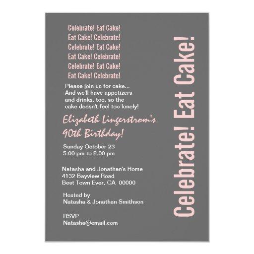 Plantilla gris y rosada del 90.o cumpleaños invitación