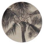Plantilla hawaiana retra de la palmera de la sepia platos