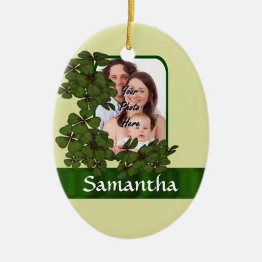 Plantilla irlandesa de la foto del trébol adornos de navidad