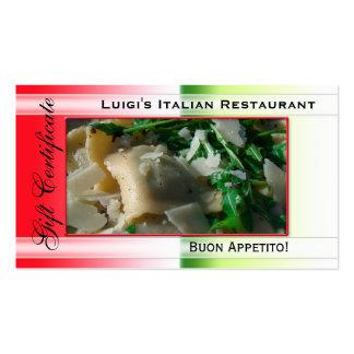 Plantilla italiana del vale del restaurante tarjeta de visita