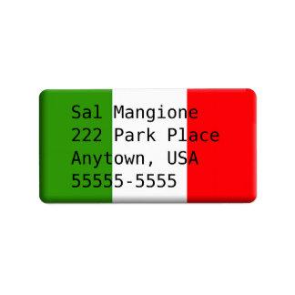 Plantilla italiana hermosa de la etiqueta de la etiquetas de dirección