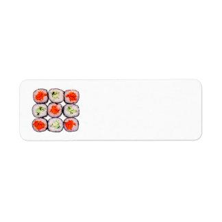Plantilla japonesa de la comida de Rolls del sushi Etiquetas De Remite