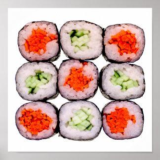 Plantilla japonesa de la comida de Rolls del sushi Póster