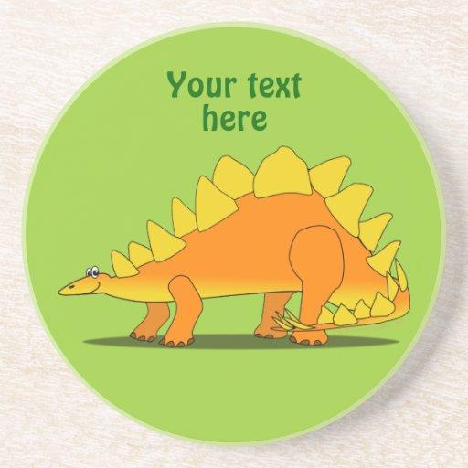 Plantilla linda del dibujo animado del dinosaurio posavasos de arenisca