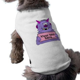 Plantilla linda púrpura del personalizable del mon camisetas de mascota