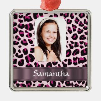 Plantilla manchada rosada de la foto del estampado adorno cuadrado plateado