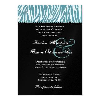 """Plantilla metálica del boda moderno azul de la invitación 5"""" x 7"""""""