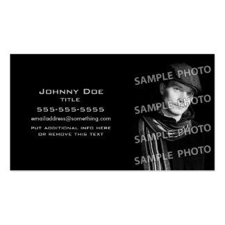 Plantilla negra básica de la foto tarjetas de visita