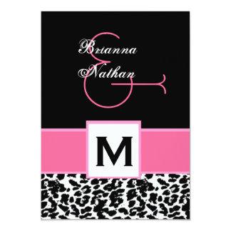 """Plantilla negra blanca rosada del leopardo invitación 5"""" x 7"""""""