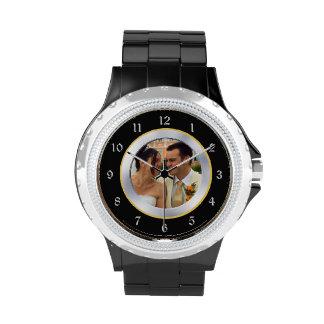 Plantilla negra de la foto del recuerdo del cromo relojes de pulsera