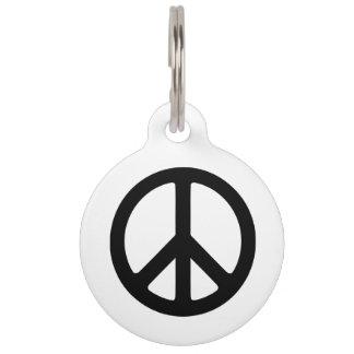 Plantilla negra del símbolo de paz placa de mascota
